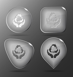 Protection nature Glass buttons vector image