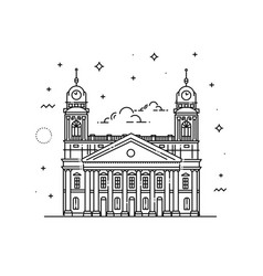 reformed great church of debrecen hungary vector image