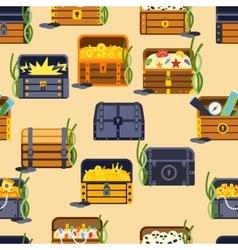 Treasure chest seamless patetrn vector image