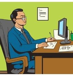 Businessman in office pop art retro style vector image vector image