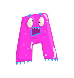 cartoon character monster letter a vector image vector image