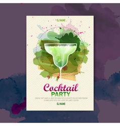 Cocktail watercolor paint disco poster vector image vector image