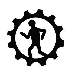 man running inside a gear icon vector image