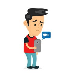 sad young man holding smartphone vector image vector image