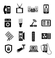 Smart Home Black Icon Set vector image vector image