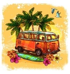 Surf Bus Sketch Concept vector image