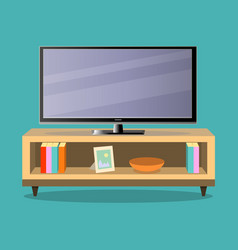 tv and tv table in living room on the green vector image