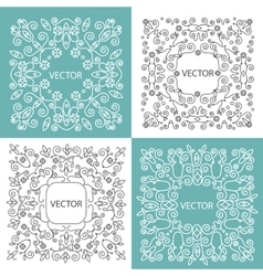 Floral frame mono line style vector image vector image