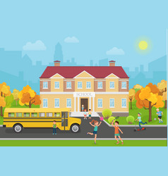 School building with children in yard and yellow vector image