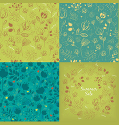 seamless and round floral graceful patterns set vector image
