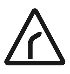 bend to right warning sign line icon vector image vector image