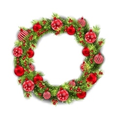 Christmas Wreath with Balls New Year and vector image