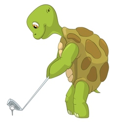 Funny Turtle Golf Player vector image vector image