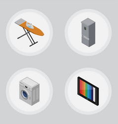Isometric appliance set of kitchen fridge laundry vector