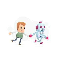 Robot runs with a man vector