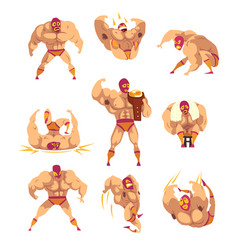 Set of professional muscular wrestler in different vector