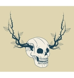 Skull with branches tattoo art design vector image