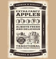 Vintage apple harvest poster vector image