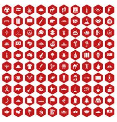 100 landmarks icons hexagon red vector