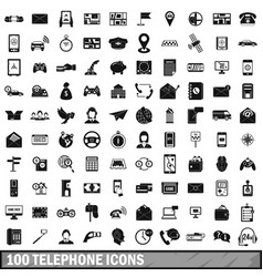 100 telephone icons set simple style vector
