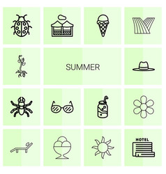 14 summer icons vector