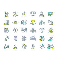 alternative medicine rgb color icons set vector image