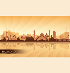 baghdad city skyline silhouette background vector image