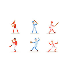 baseball players with bats and gloves vector image