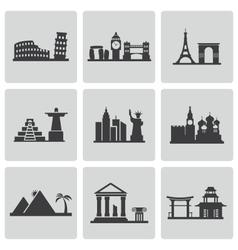 Black landmarks icons set vector