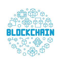 blockchain technology blue round outline vector image