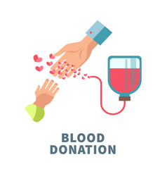 blood donation agitative poster with adult and vector image