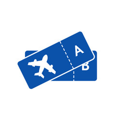 blue icon of tickets on plane for airline vector image