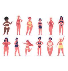 body positive girls multiracial women group of vector image