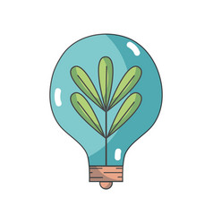 bulb with plant and leaves inside icon vector image