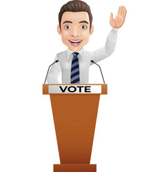 businessman speaker on presentation podium vector image