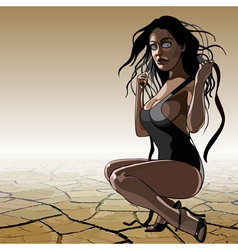 cartoon woman in a bathing suit in the desert vector image