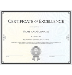 Certificate of excellence template vector