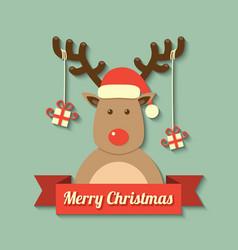 christmas reindeer background vector image