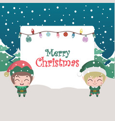 Christmas scene greeting with cute elves and text vector
