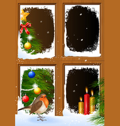 Christmas scenes seen through a wooden window vector