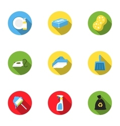 Cleaning set icons in flat style Big collection vector