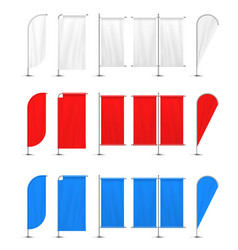 colored beach flag set white red blue vector image