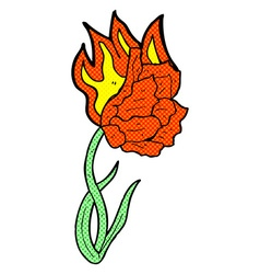 Comic cartoon flaming flower vector