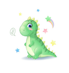 cute little dinosaur with stars vector image
