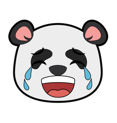 Cute panda crying emoji kawaii vector