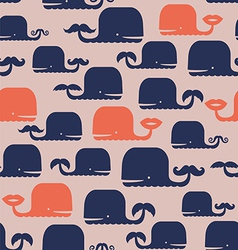 Cute pattern with whales vector