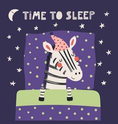 Cute sleeping zebra vector