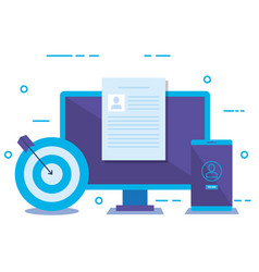 desktop with social media marketing icons vector image