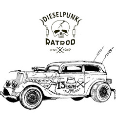 diesel punk hot rod coupe isolated arts vector image