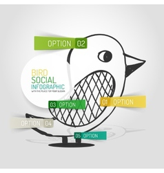 Drawn social bird design and infographics vector